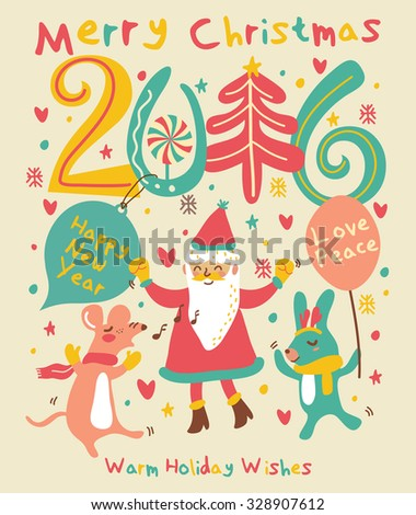 Merry Christmas and Happy winter Holidays card in vector (2) - stock vector