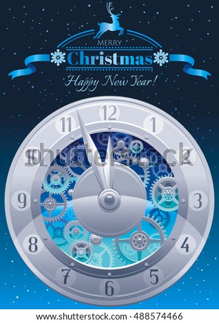 Clockwork cogwheels minute hour hands vintage stock vector merry christmas and new year greeting card design template with clockwork cogwheel minute pronofoot35fo Image collections