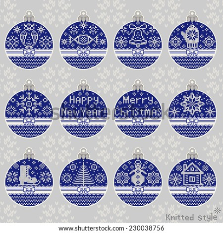Merry Christmas and New Year knitted ball set. Scandinavian northern style. The complete set of ball for gifts. Vector illustration. - stock vector