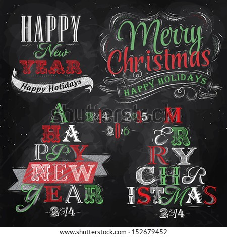 Merry Christmas and New Year lettering collection of Christmas tree from letters stylized for the drawing with chalk of red, green on the blackboard. Vector   - stock vector
