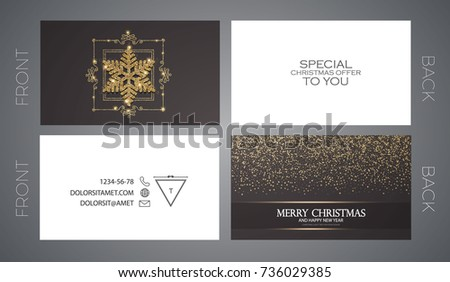 Merry christmas new year offer cards stock vector 736029385 merry christmas and new year offer cards template business cards vip greetings accmission Choice Image