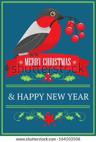 Merry Christmas and New Year postcard. Bullfinch bird holding guelder rose berries in its beak sitting on the ribbon. Vector illustration. - stock vector