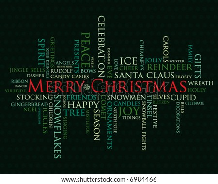 merry christmas and other holiday words - stock vector