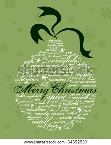 merry christmas and other holiday words in the shape of an ornament - stock vector