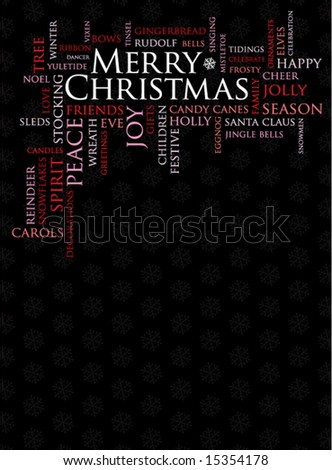 merry christmas and other holiday words on a black background - stock vector