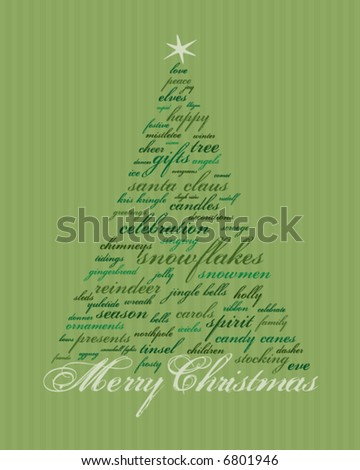 merry christmas and other words in green that make abstract trees - stock vector