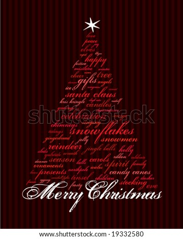 merry christmas and other words in red that make an abstract tree - stock vector