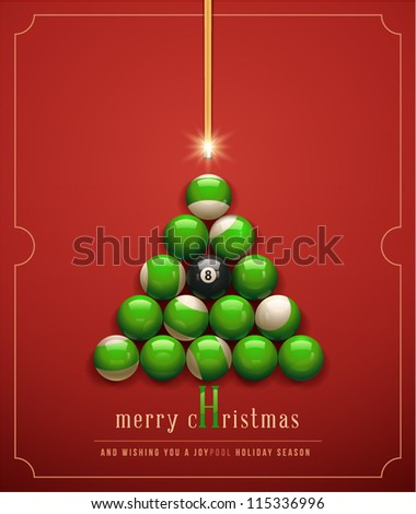 "Merry Christmas/ and Wishing you a ""Joypool"" Holiday Season. Creative Christmas tree. Vector Illustration - stock vector"