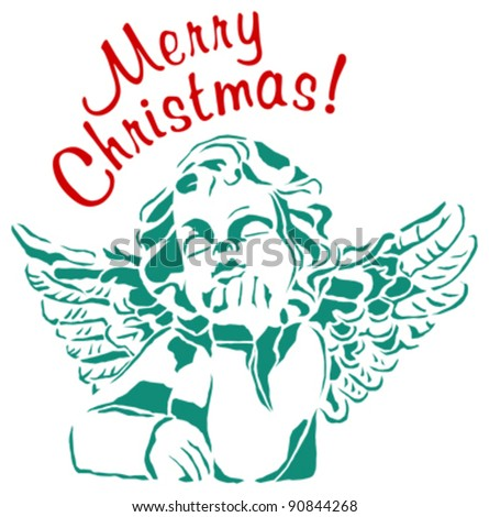 Merry Christmas angel - stock vector