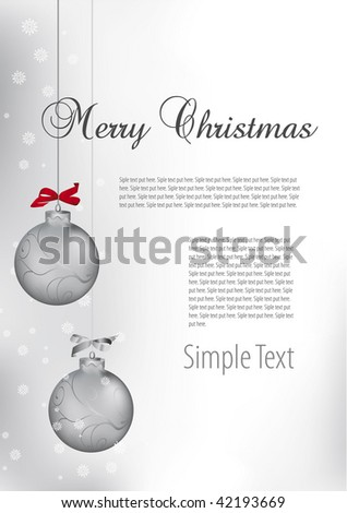 Merry Christmas background silver balls - stock vector