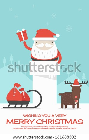 Merry Christmas background, vector - stock vector