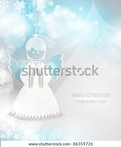 Merry Christmas background with an angel - stock vector