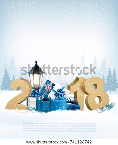 Merry Christmas Background with 2018 and gift boxes.Vector