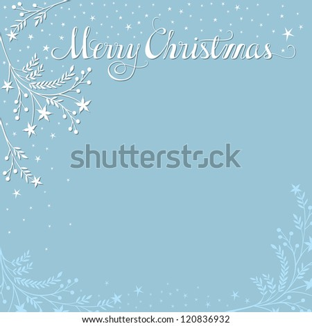 Merry Christmas background with snowy branches. Plenty of space for your text