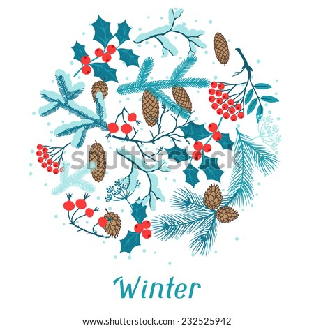 Merry Christmas background with stylized winter branches. - stock vector