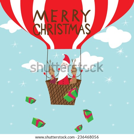 Merry Christmas Balloon card - illustrator vector  - stock vector