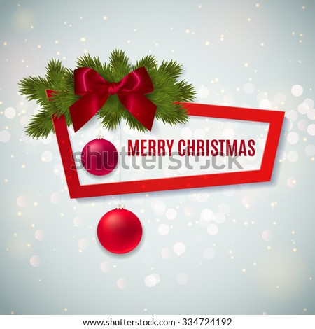 Merry Christmas banner. Christmas festive background with Christmas ornaments, red bow and fir twigs. Vector illustration - stock vector