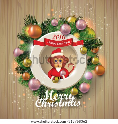 merry christmas banner on wooden texture. - stock vector
