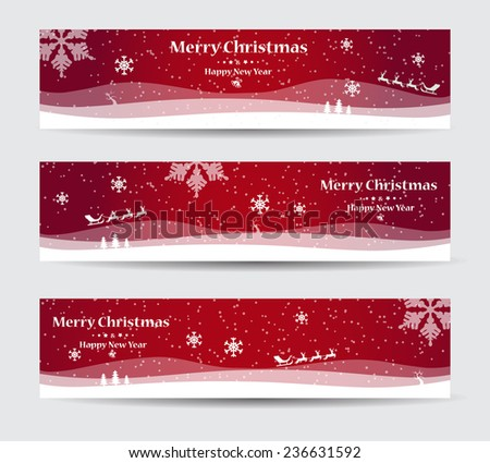 Merry Christmas banners set design, vector illustration