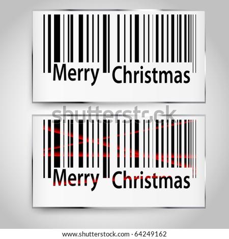 Merry Christmas bar codes all data is fictional - stock vector
