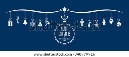 merry christmas bauble decoration elements blue background - stock vector