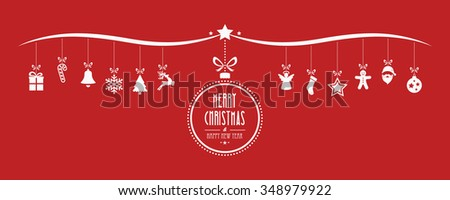 merry christmas bauble decoration elements red background - stock vector