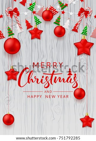 Merry Christmas Beautiful Flyer Festive Decoration Stock Vector ...