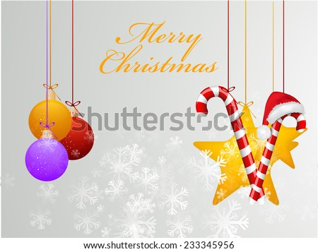 Merry Christmas beautiful poster decorated with X-mas ornaments on snowflakes decorated grey background. - stock vector