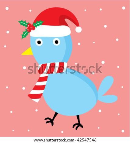 merry christmas bird - stock vector
