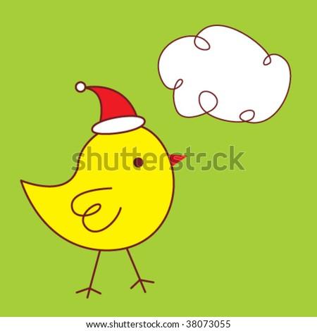 merry christmas bird card - stock vector
