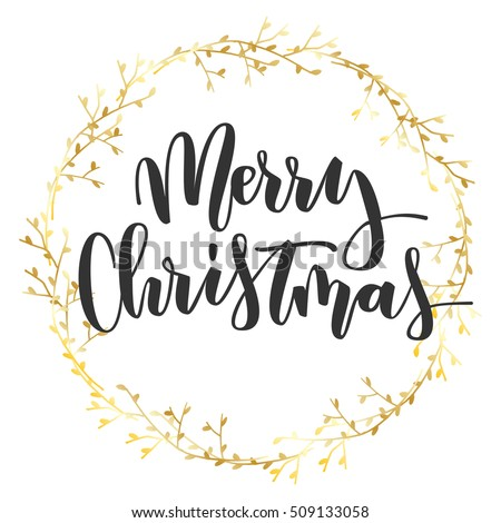 Merry Christmas Black Hand Written Inscription With Gold Floral Wreath On White Background