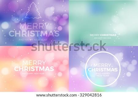 merry christmas blur vector banner set - stock vector