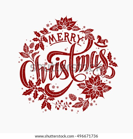 Merry Christmas Calligraphic Lettering Design decorated with Christmas Wreath.
