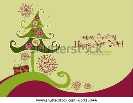 Merry Christmas card - stock vector