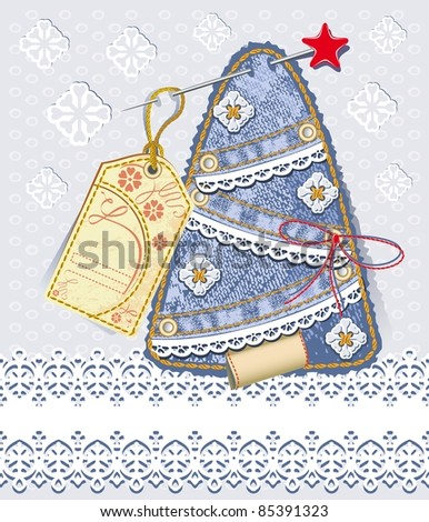 Merry Christmas card. Background in jeans scrapbooking style. Denim tree with straight lace and vintage label - stock vector