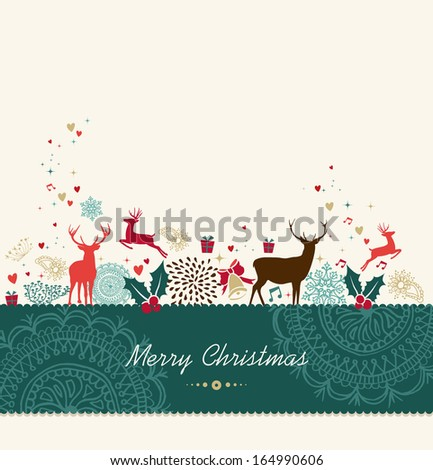 Merry Christmas card background with vintage holiday elements composition. Vector file organized in layers for easy editing. - stock vector