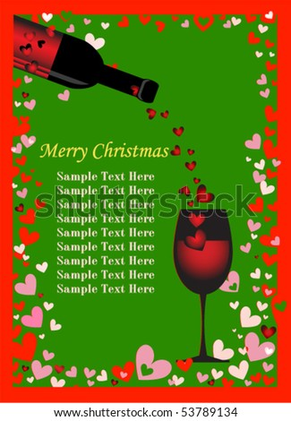 Merry Christmas card background with wine - stock vector