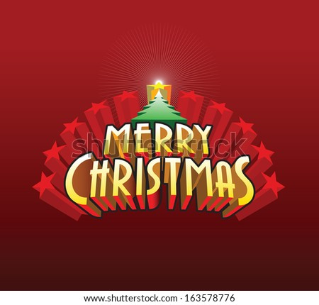 Merry christmas card design. - stock vector