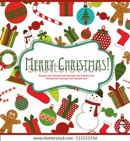 merry christmas card design. vector illustration - stock vector