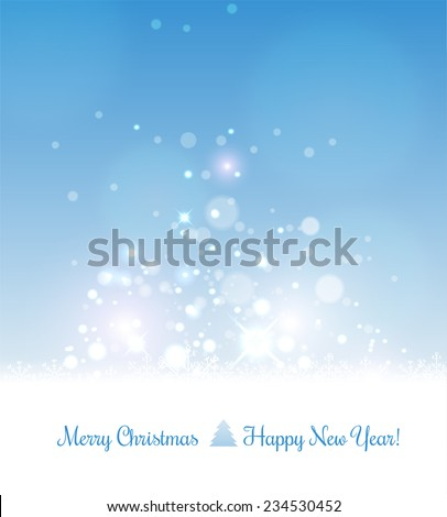 Merry Christmas card for Xmas and Happy New Year. Background with snowflakes and light. Vector Illustration. - stock vector