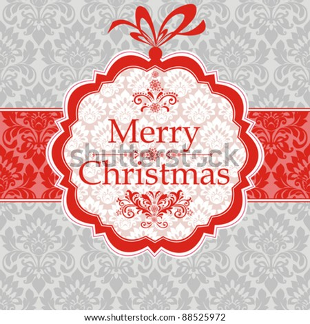 Merry Christmas card.  Greeting card on a red background with bow. Seamless  background. Vector Illustration - stock vector
