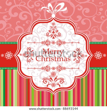 Merry Christmas card. Greeting card on a red background with bow. Vector Illustration