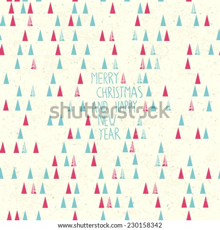 Merry Christmas Card Hand Drawn. - stock vector
