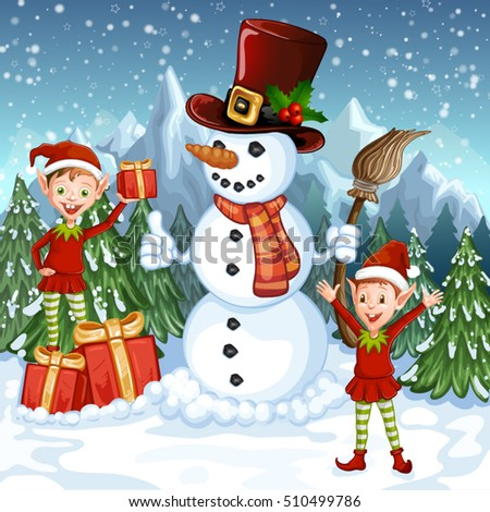 Merry Christmas Card. Illustration with funny snowman and Santa's elves