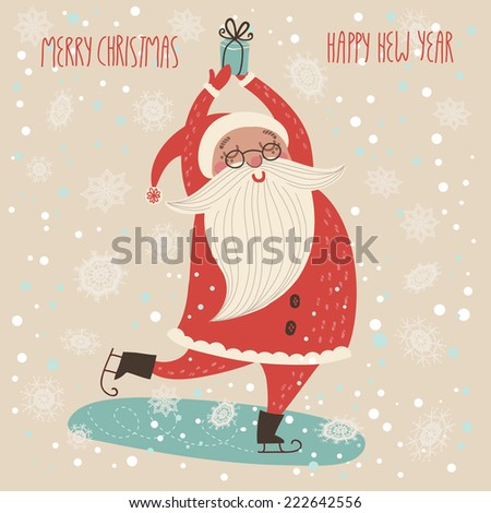Merry Christmas card in vector.Cute funny Santa Claus  - stock vector