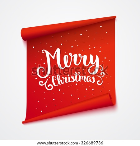 Merry christmas card. Isolated sticker with lettering. Vector art illustration. - stock vector
