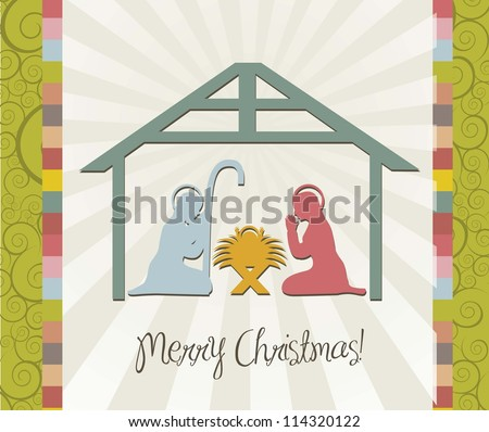 merry christmas card of nativity scene, vintage. vector - stock vector