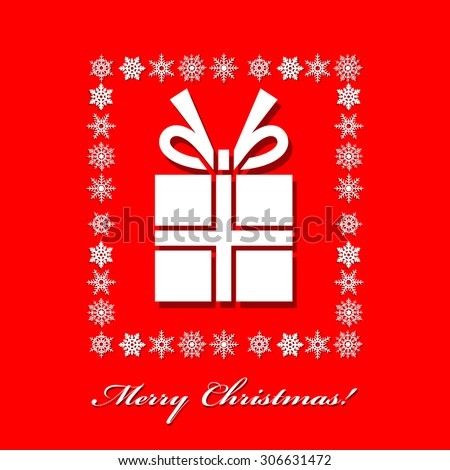 Merry Christmas card on red color background.
