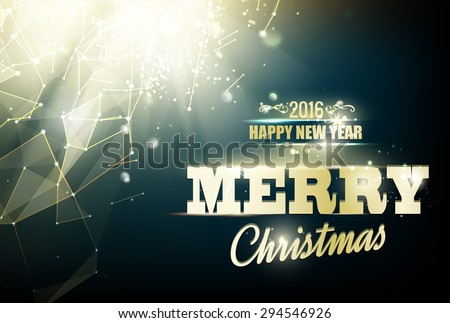 Merry christmas card over night background with white polygonal lines. Vector illustration. - stock vector