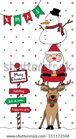Merry Christmas card pattern with Santa, reindeer, snowman, snow green red and stripe red-white frame vertical - stock vector